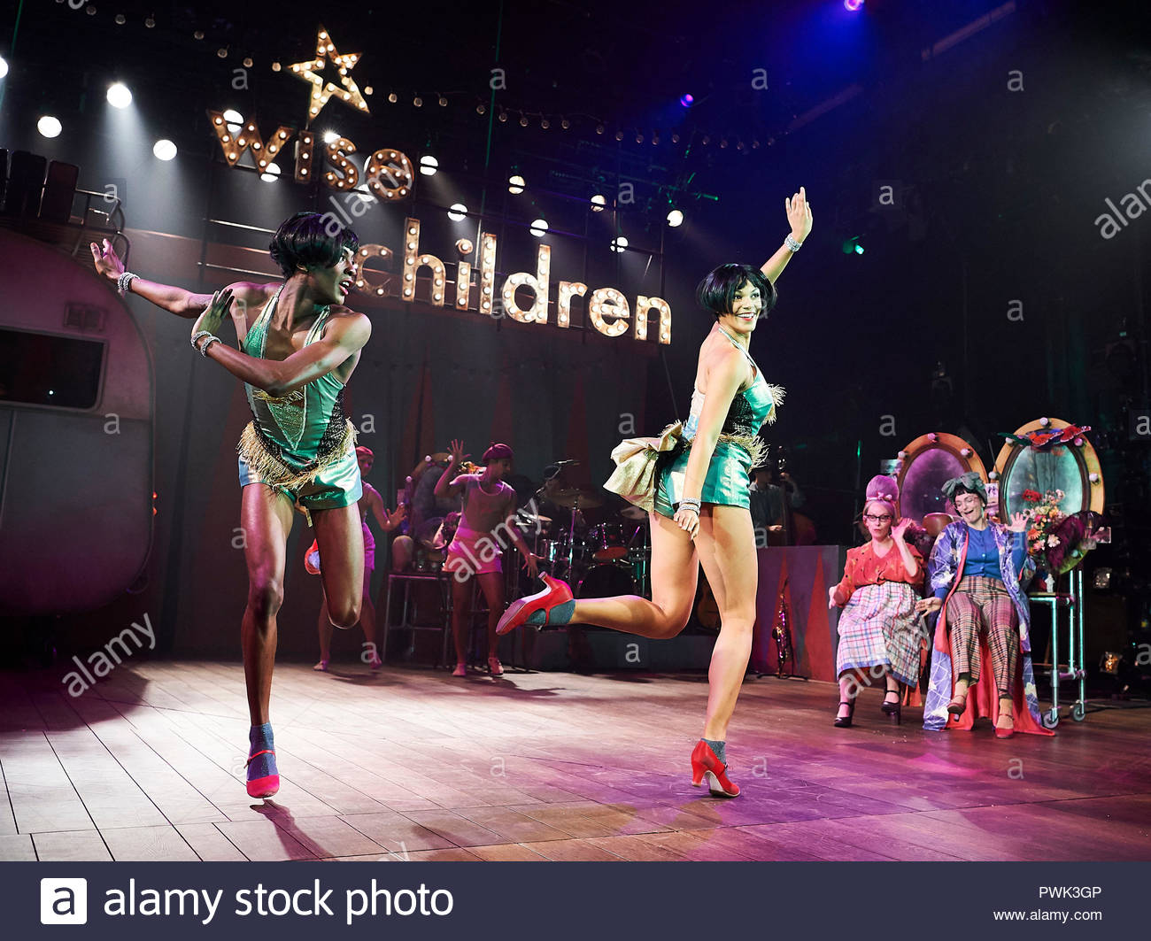 London, UK. 15th October, 2018. Wise Children by Angela Carter, adapted and directed by Emma Rice. With Omari Douglas as Showgirl Nora, Melissa James as Showgirl Dora.Opens at The Old Vic Theatre on 19/10/18. CREDIT Geraint Lewis EDITORIAL USE ONLY Credit: Geraint Lewis/Alamy Live News - Stock Image