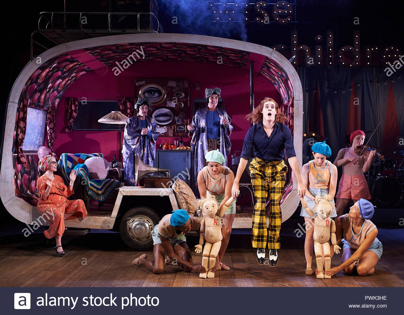 London, UK. 15th October, 2018. Wise Children by Angela Carter, adapted and directed by Emma Rice. With Sam Archer as Young Peregrine [yellow and black trousers].Opens at The Old Vic Theatre on 19/10/18. CREDIT Geraint Lewis EDITORIAL USE ONLY Credit: Geraint Lewis/Alamy Live News - Stock Image