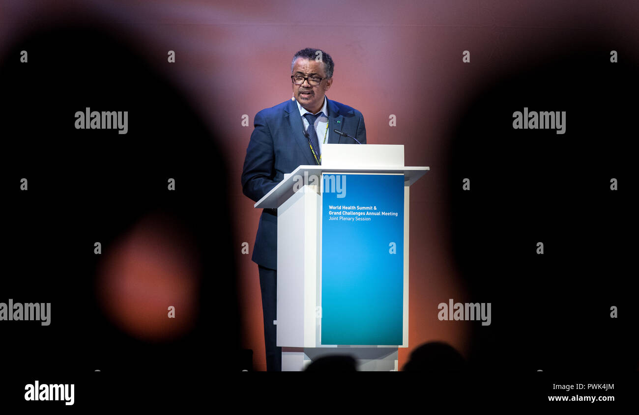 Berlin, Germany. 16 October 2018, Berlin: 16 October 2018, Germany, Berlin: Tedros Adhanom Ghebreyesus, Director General of the World Health Organization (WHO), speaking at the closing event of the World Health Summit 2018. 2,000 participants and 300 speakers from 100 countries discussed pressing issues of global health care and the prevention of preventable diseases at the three-day event. Photo: Bernd von Jutrczenka/dpa Credit: dpa picture alliance/Alamy Live News - Stock Image