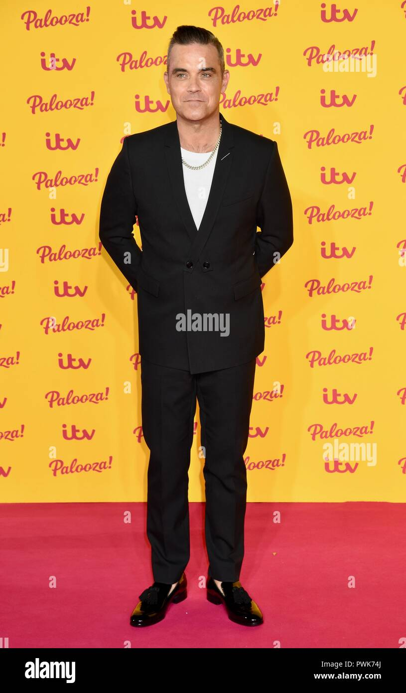 London, UK. 16th Oct 2018. Robbie Williams,ITV Palooza,Royal Festival Hall,London.UK Credit: michael melia/Alamy Live News - Stock Image