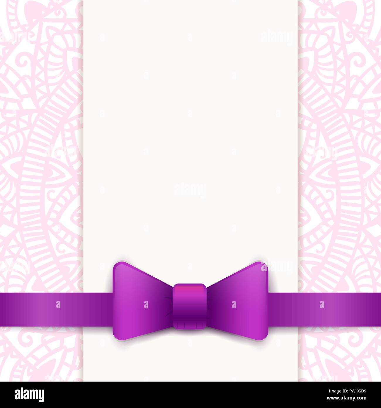 Vintage Greeting Card Template With Violet Bow And Ribbon