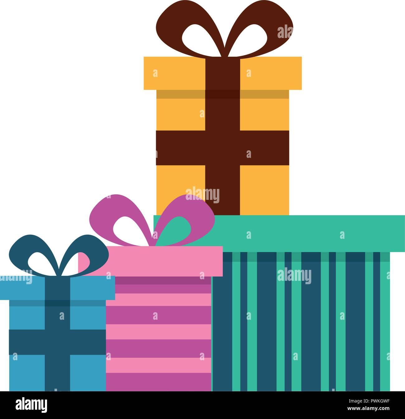 Birthday Gift Boxes Surprises Celebration Vector Illustration