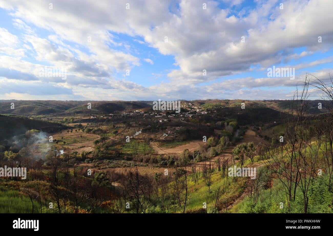 A late afternoon capture looking towards the village of Barril de Alva, Central Portugal. - Stock Image