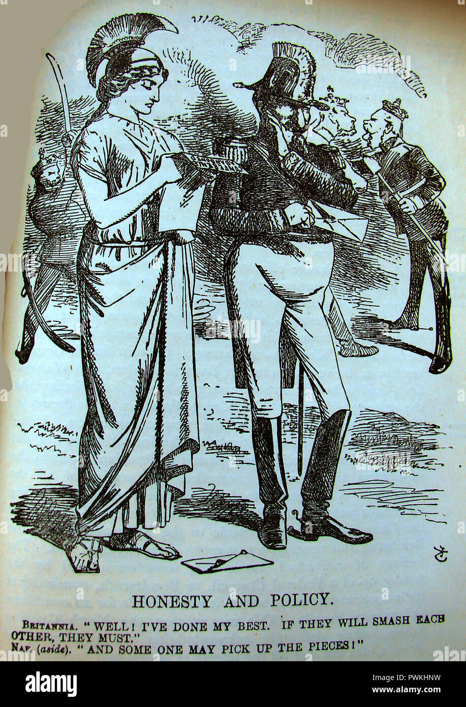 Victorian political cartoon relating to the Austro-Prussian War (Seven Weeks War or Fraternal War) showing Britannia (Britain) and Napoleon who was seeking 'rich pickings' from the conflict - Stock Image