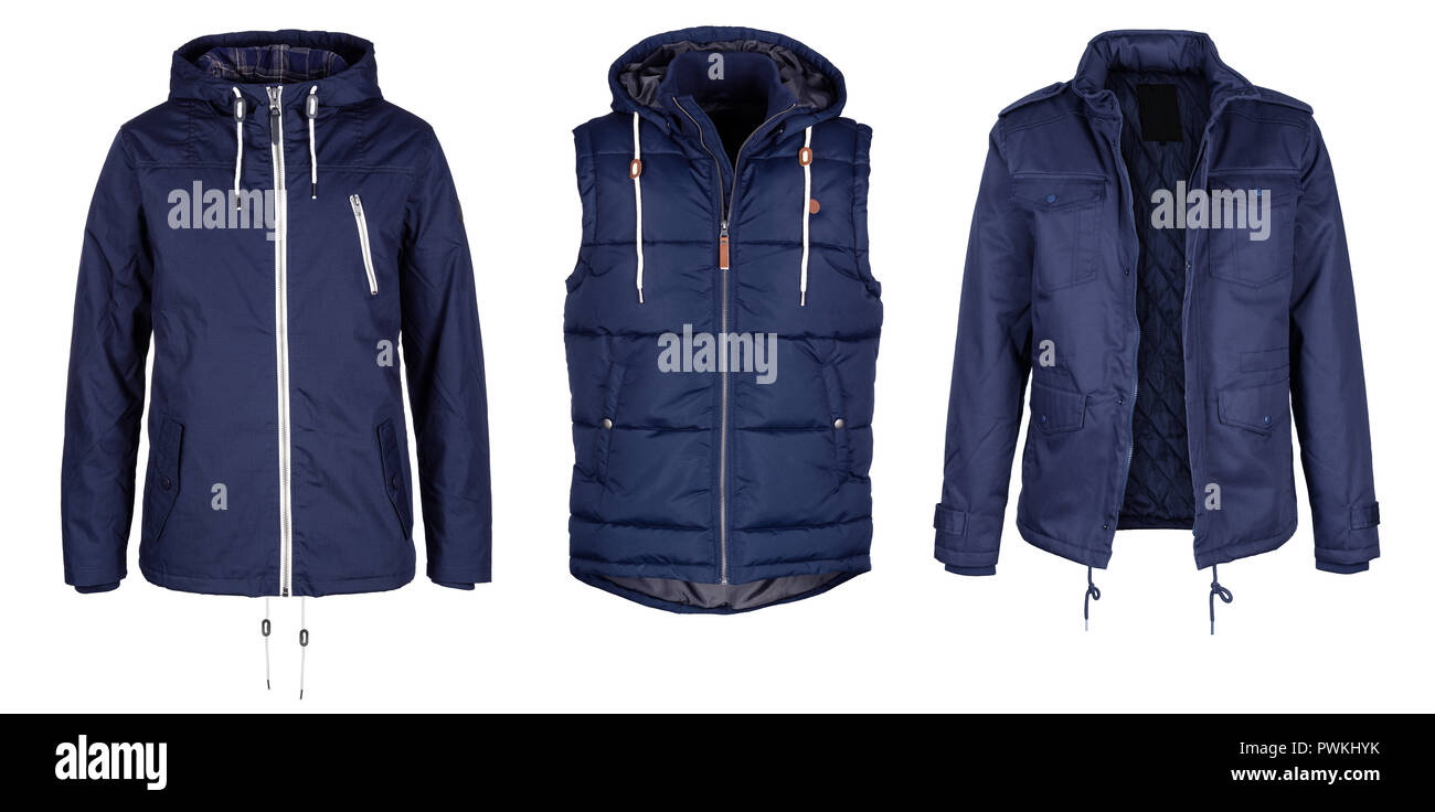 Two jackets and vest in navy blue color isolated on white background - Stock Image