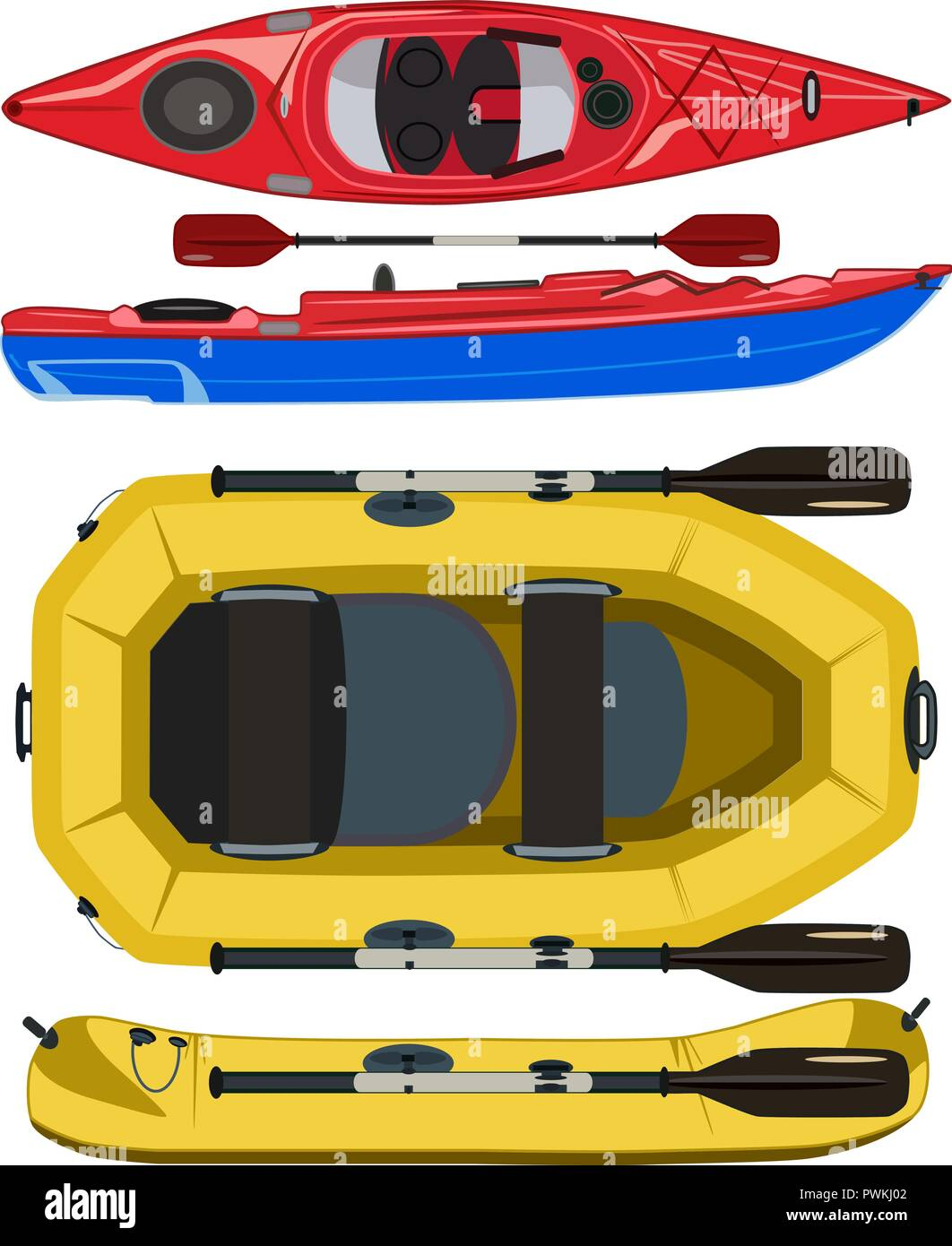 Kayak and rafting inflatable rubber boat vector flat illustration - Stock Vector