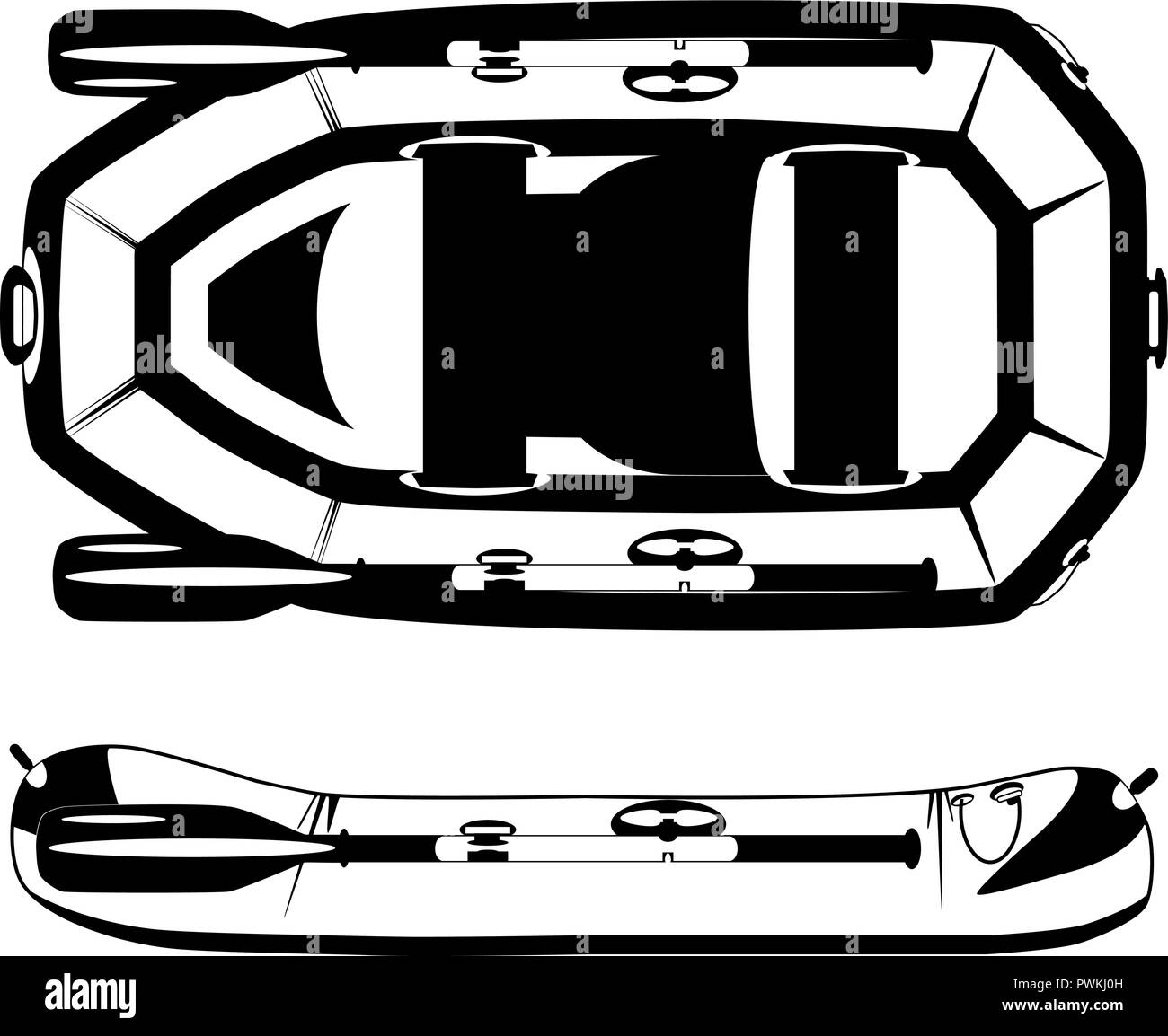 Rafting inflatable rubber boat vector black template - Stock Vector