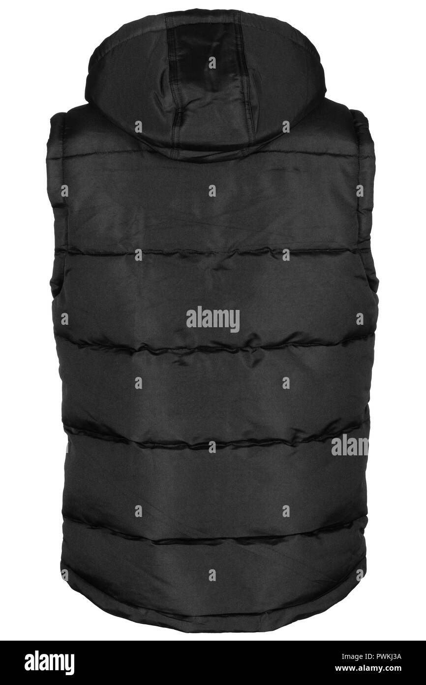 Back of black warm waistcoat with hood isolated on white background - Stock Image