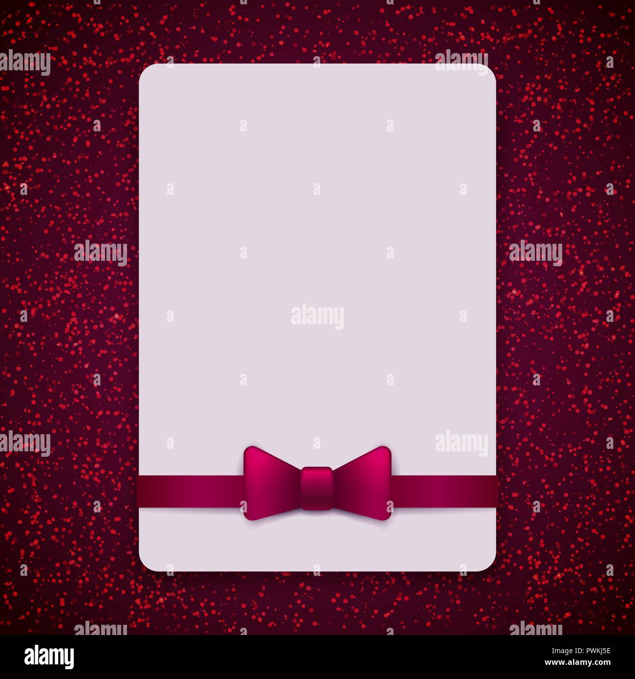 Vintage Greeting Card Template With Bow And Ribbon Vector