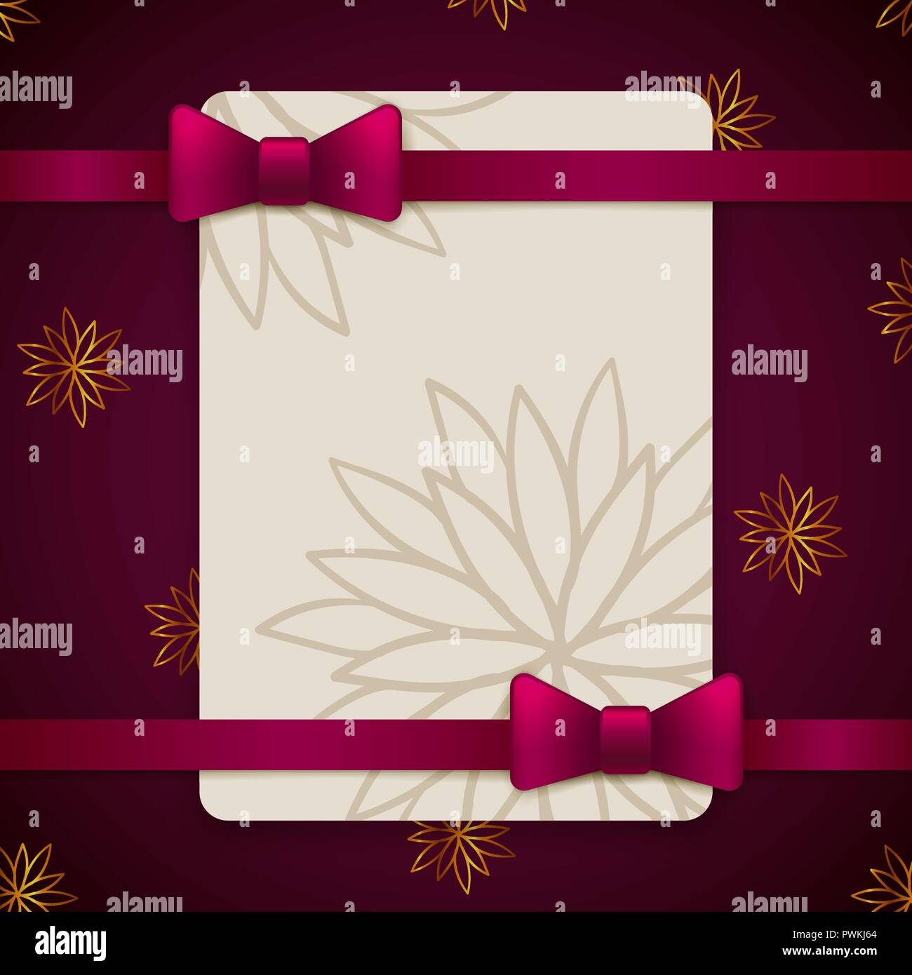 Violet And Gold Vintage Greeting Card Template With Bow And