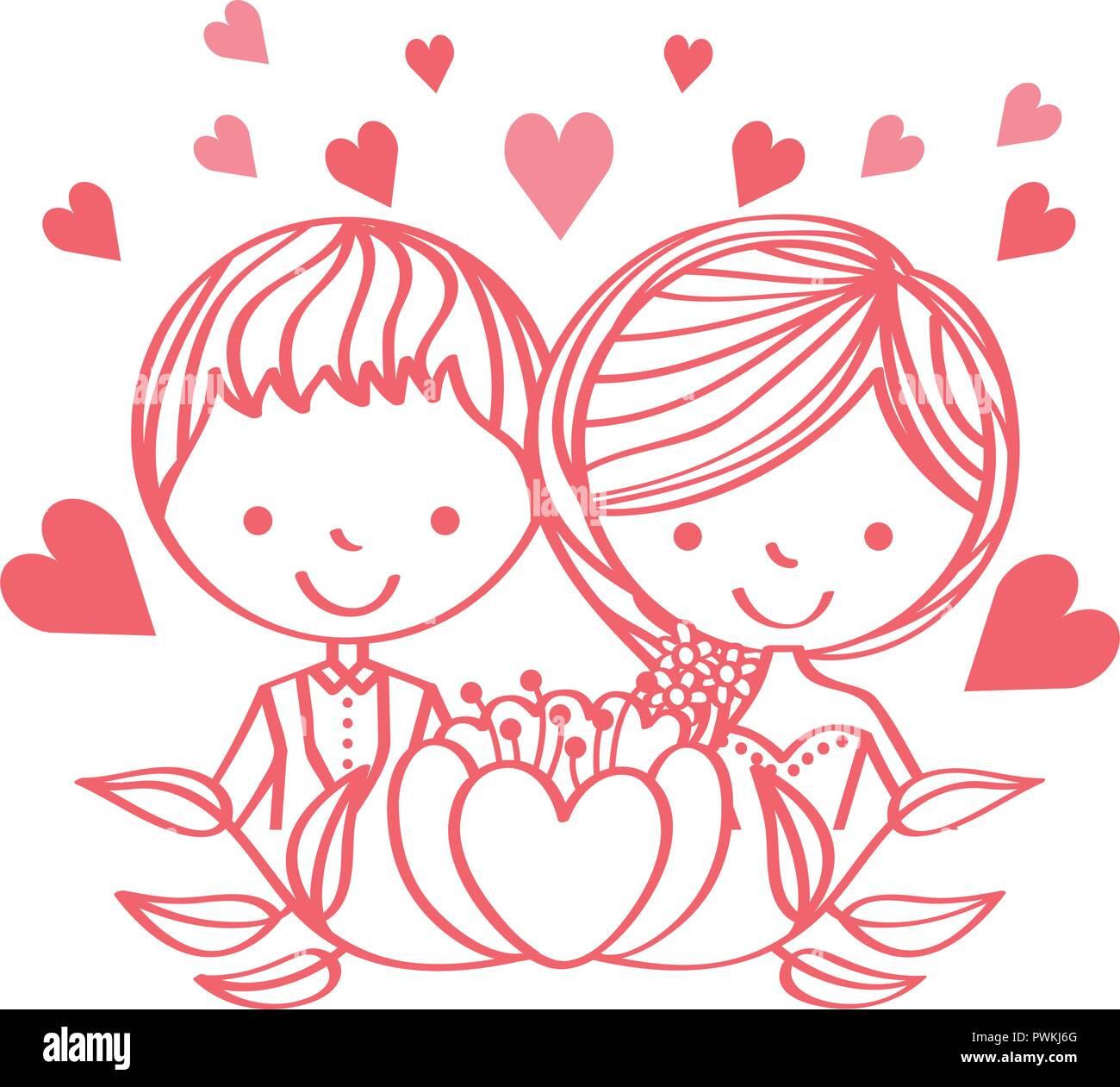 Wedding Day Cute Couple Cartoon Flowers Love Vector Illustration Stock Vector Image Art Alamy