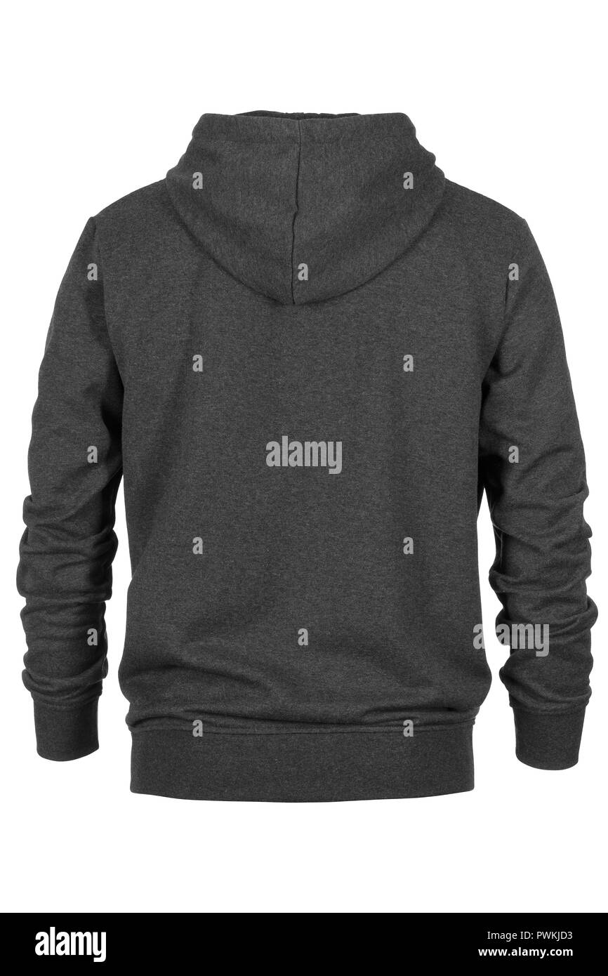 Back of grey tracksuit with hood on white background - Stock Image