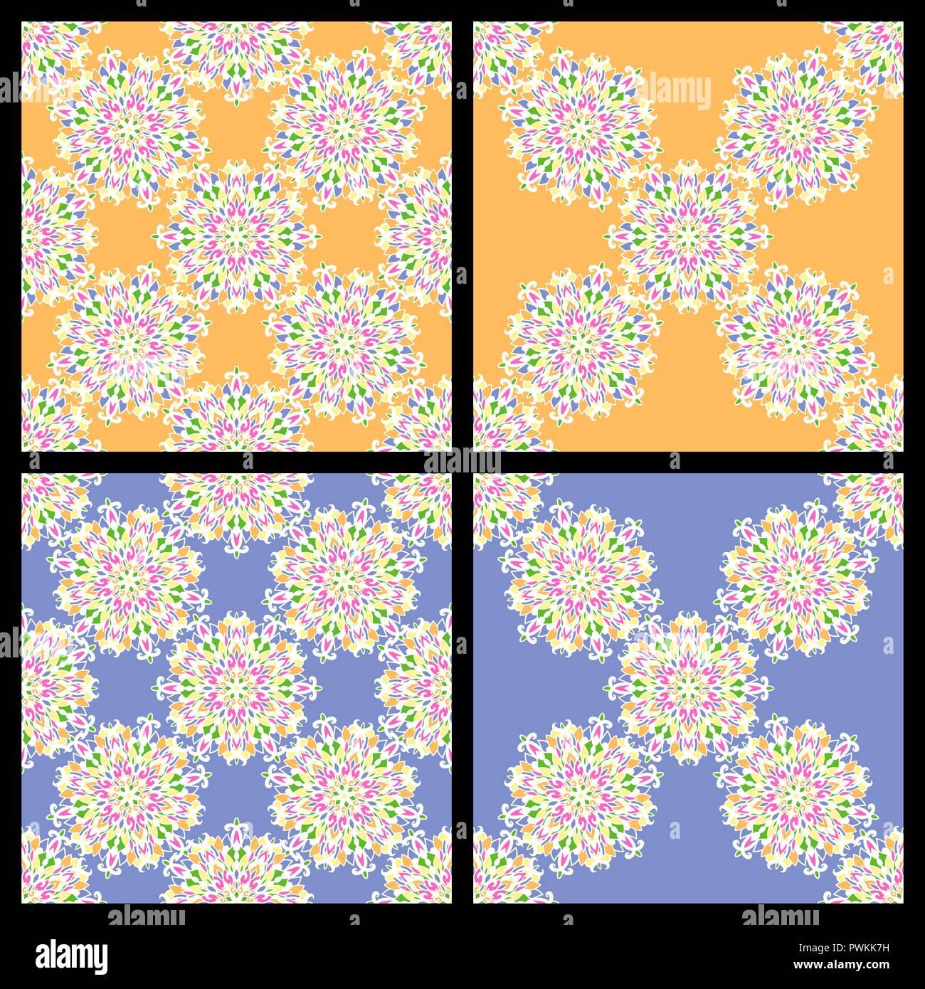 Set Of Seamless Colorful Vintage Patterns Mandala Laces On Blue