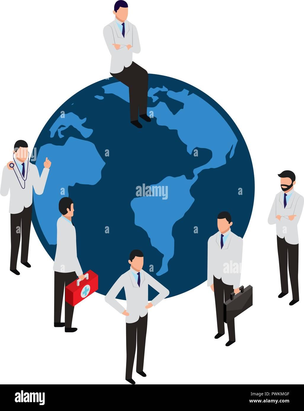 people staff medical world service vector illustration - Stock Vector