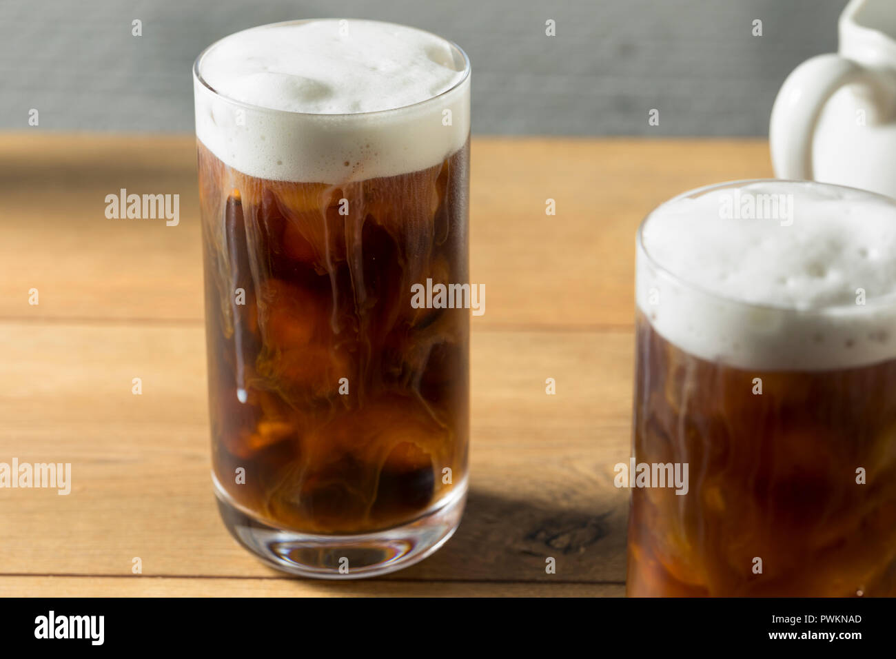 Homemade Cold Brew Coffee with Cold Foam - Stock Image