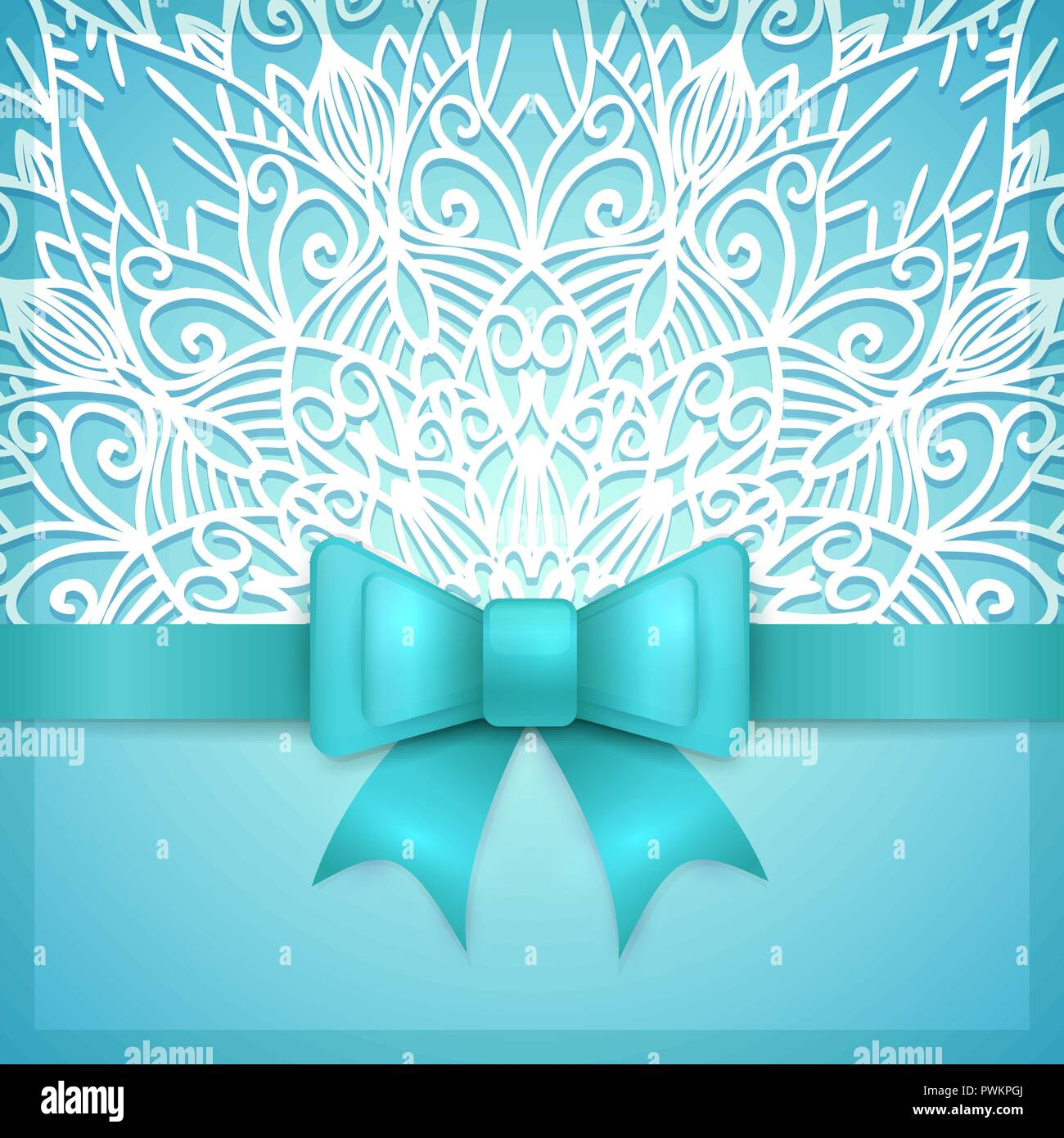 Blue Vintage Greeting Card Template With Bow Ribbon And