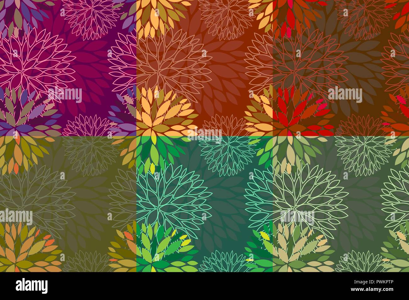 Set Of 6 Vector Seamless Abstract Seasonal Floral Backgrounds In