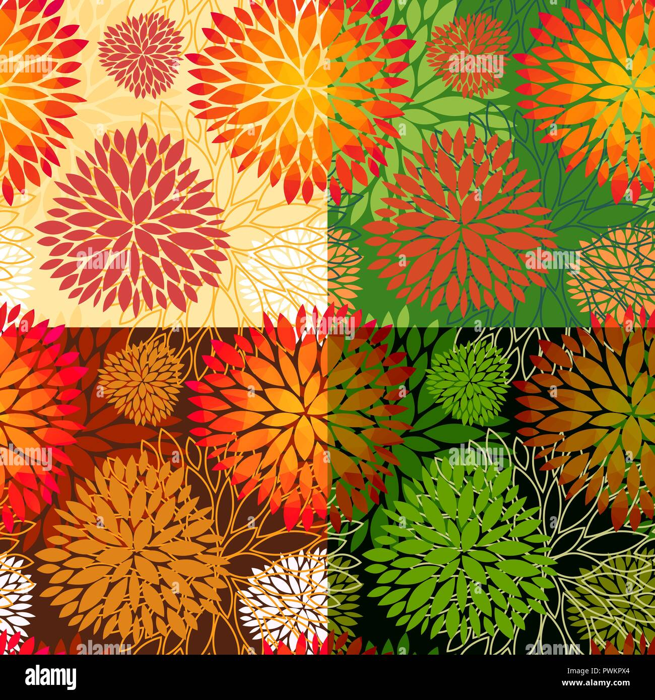 Set Of 4 Vector Seamless Abstract Floral Backgrounds In Autumn