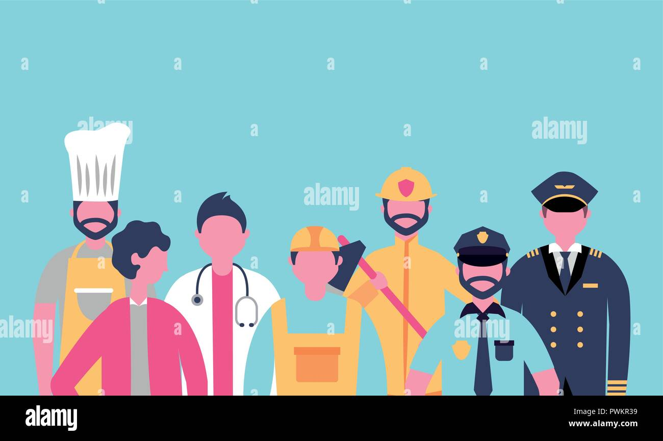 professional people jobs occupations work hard vector illustration - Stock Image