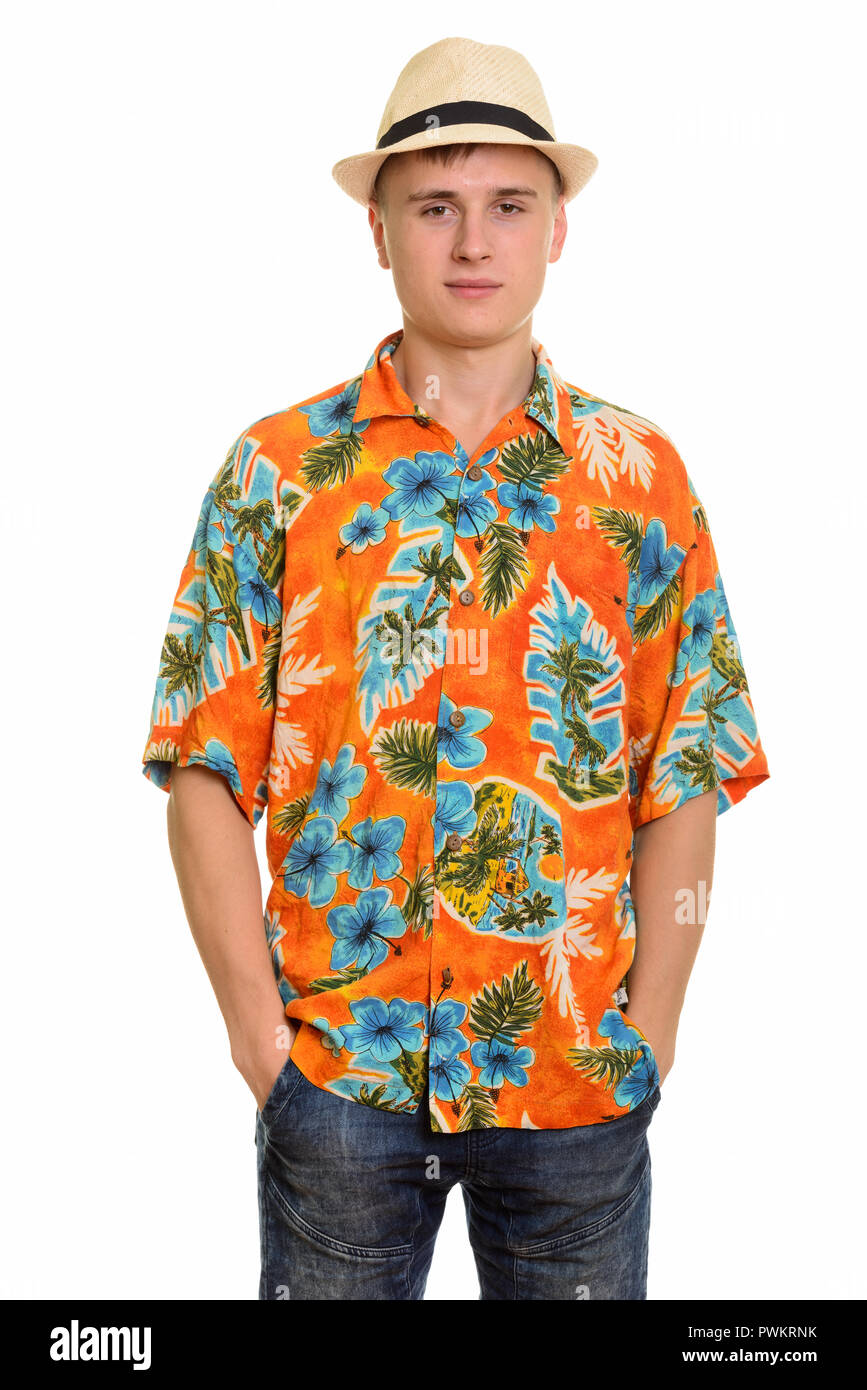 5dfd0fcf1 Young Caucasian tourist man with hawaiian shirt and hat ready for holiday