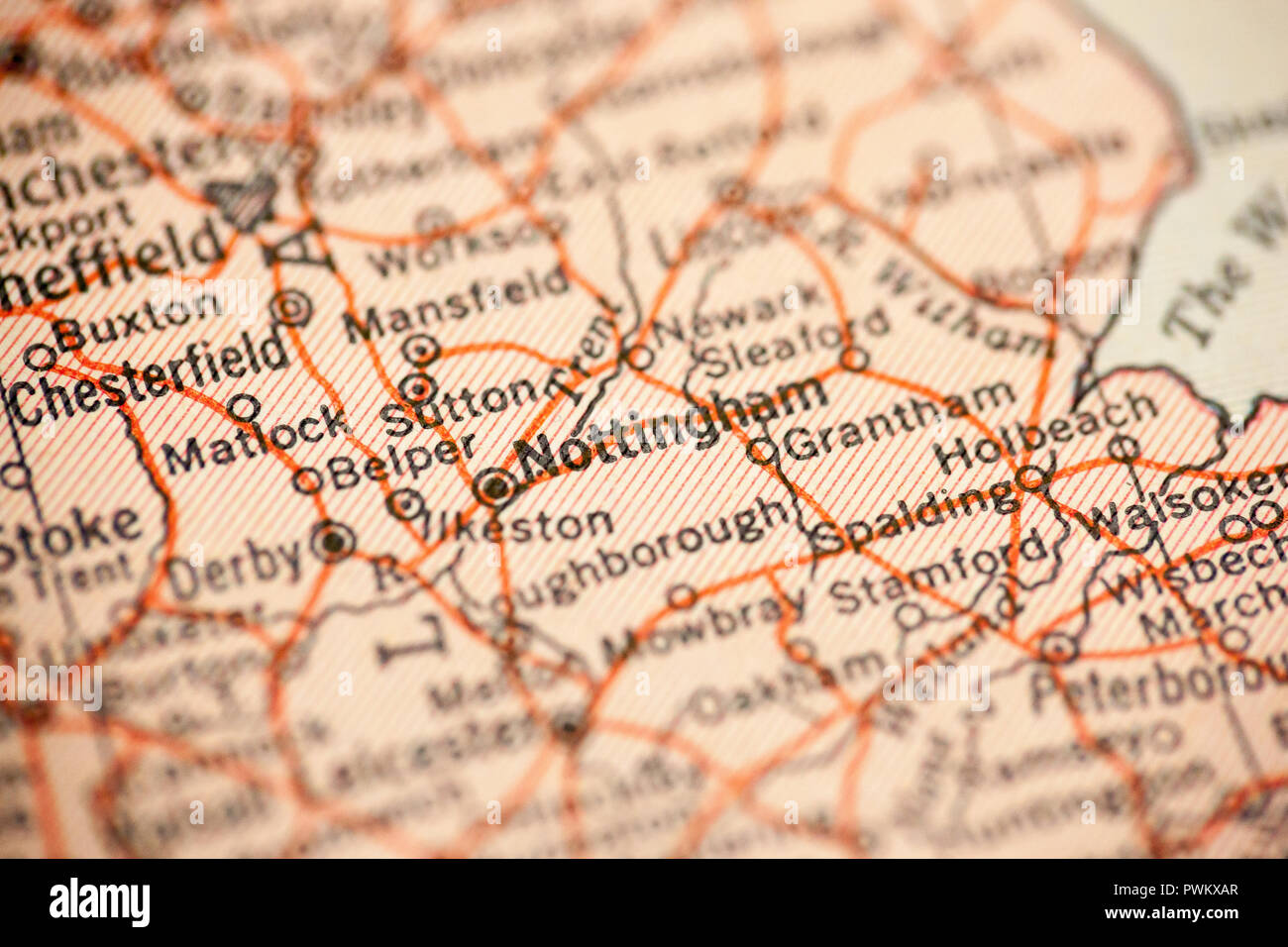 Nottingham England Is The Point Of Focus On A Vintage Map Stock