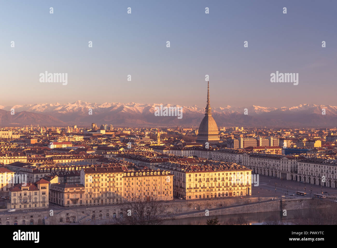 The golden dawn - a wide panoramic view of the beautiful Turin - Stock Image