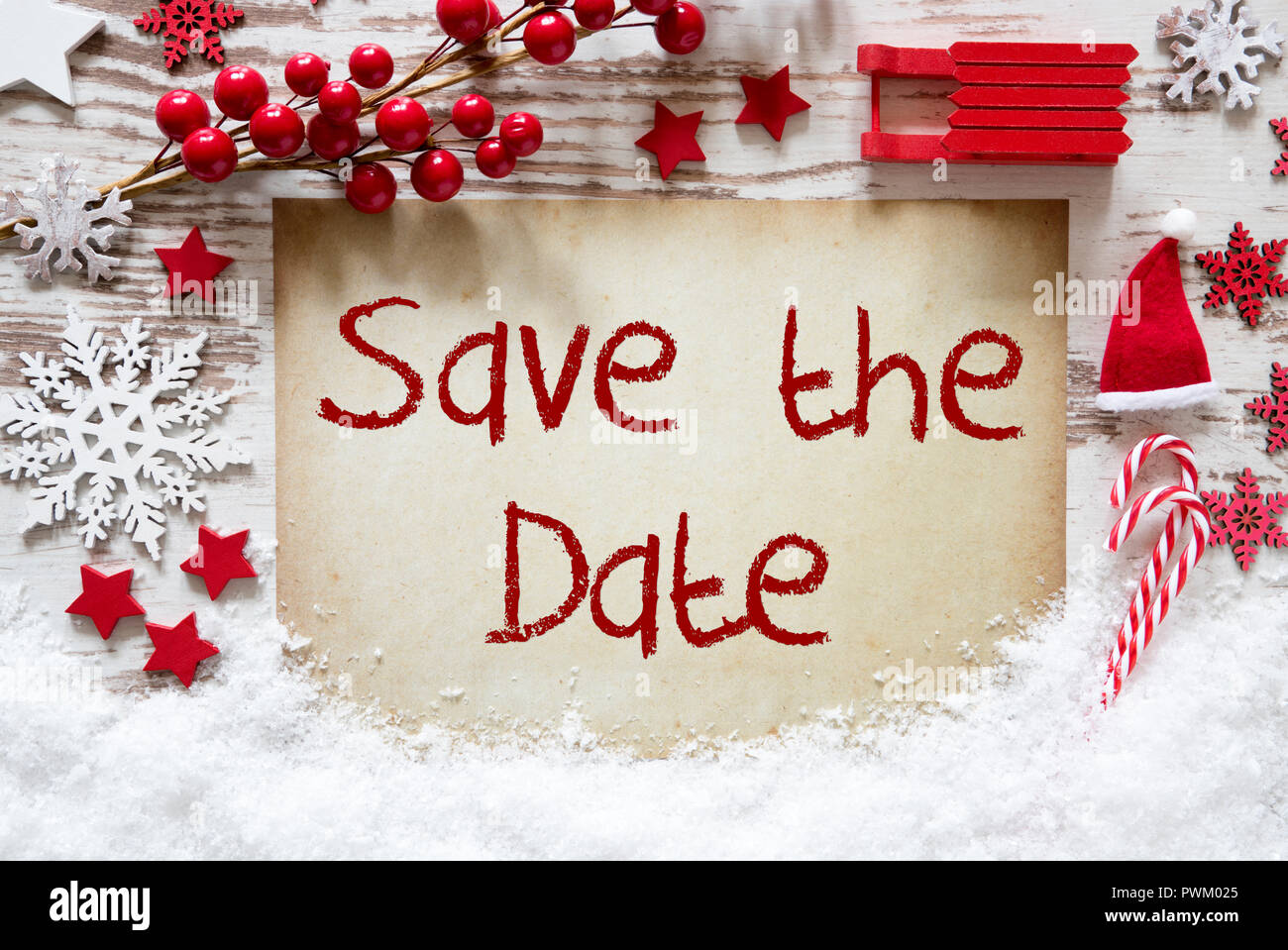 Christmas Save The Date.Bright Christmas Decoration Snow English Text Save The