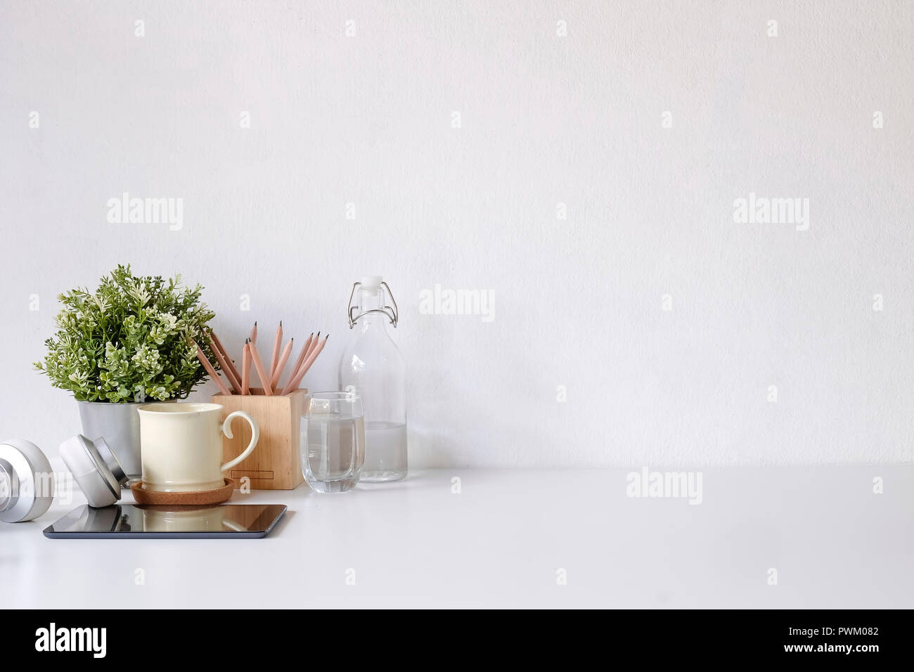 Workspace Empty Space And Coffee Mug Pencil Plant Tablet