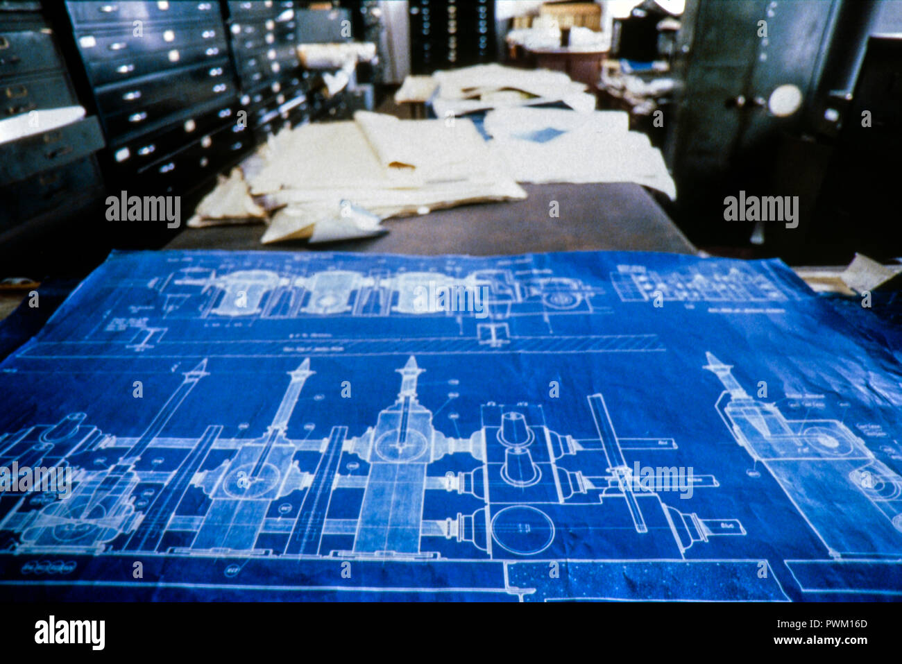 Battersea Power Station - 4th Floor Office and Blueprint March 1988 - Stock Image