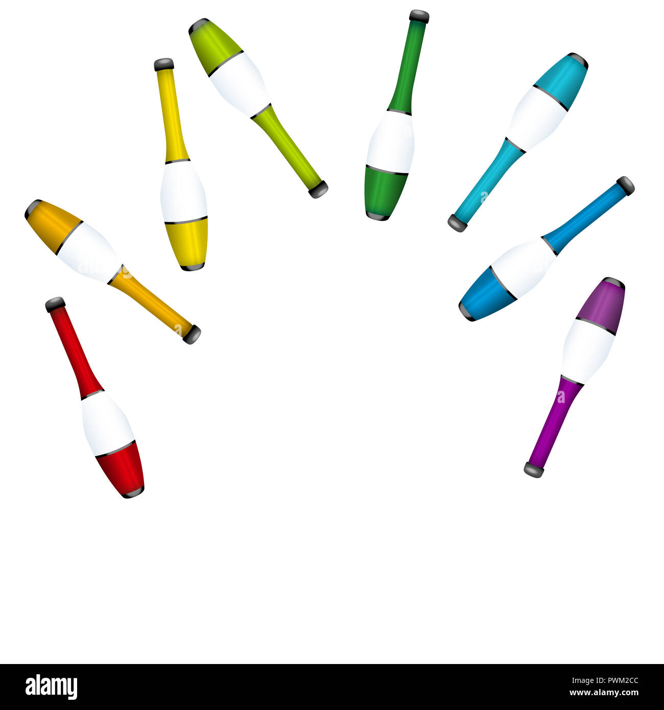 Throwing up juggling clubs, insert any person. Colored set for acrobats to juggle a highly concentrated performance. - Stock Image