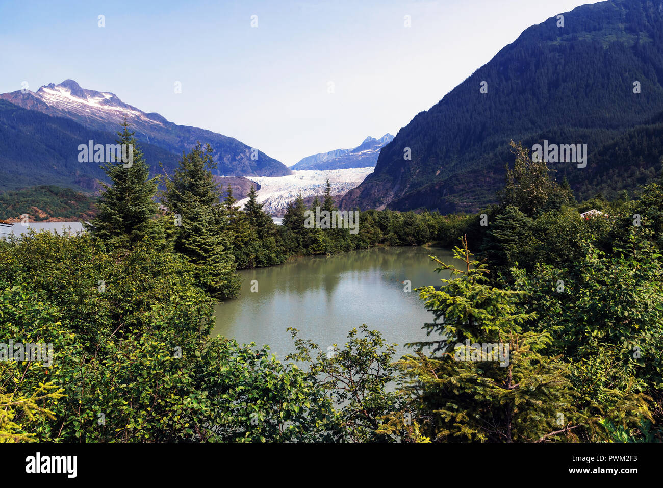 Mendenhall Glacier and Mendenhall Lake, Mendenhall Valley, Alaska, USA - Stock Image