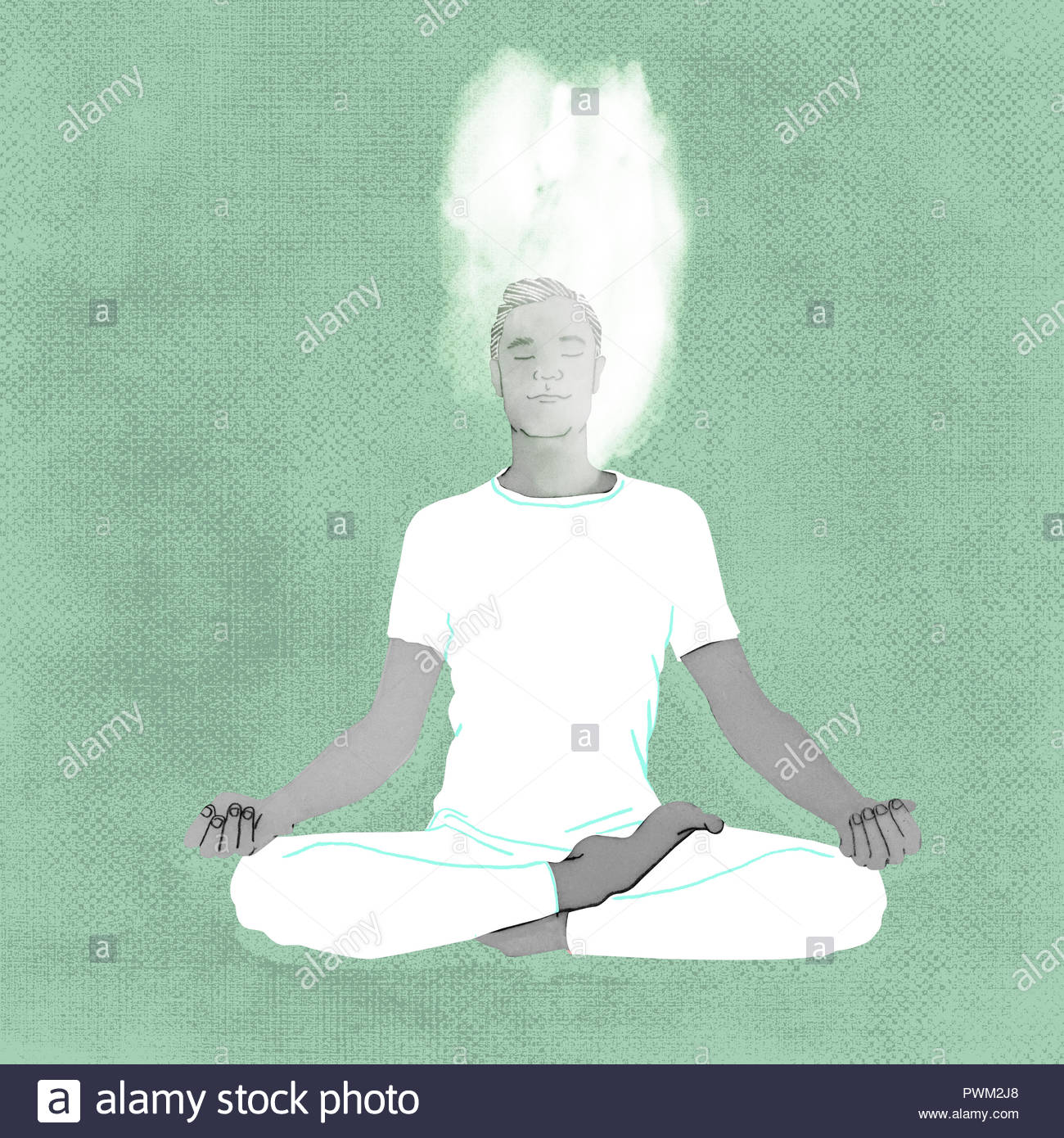 yoga man in lotus meditation pose - Stock Image