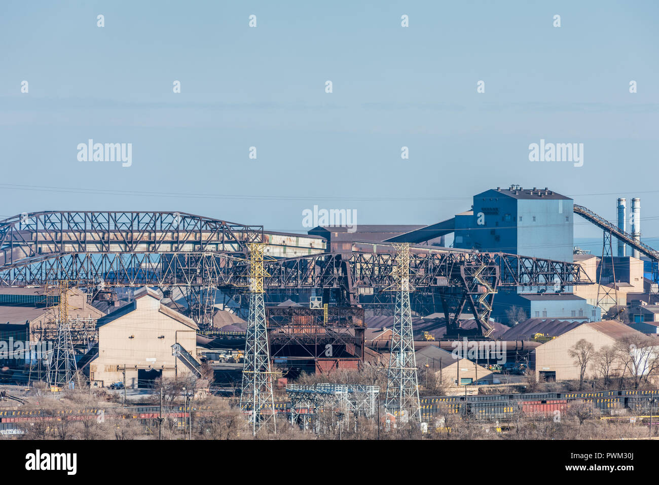 Aerial view of steel mills in Gary - Stock Image