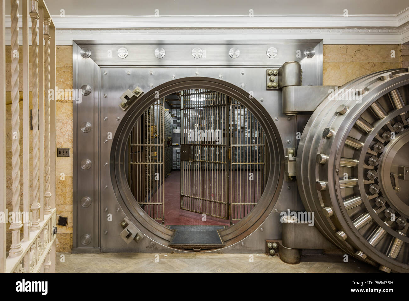 Bank vault in the basement of the Gary State Bank building Stock Photo