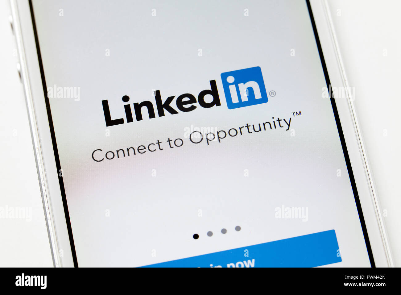 LinkedIn (Linked In) app on iPhone (close up)- USA - Stock Image