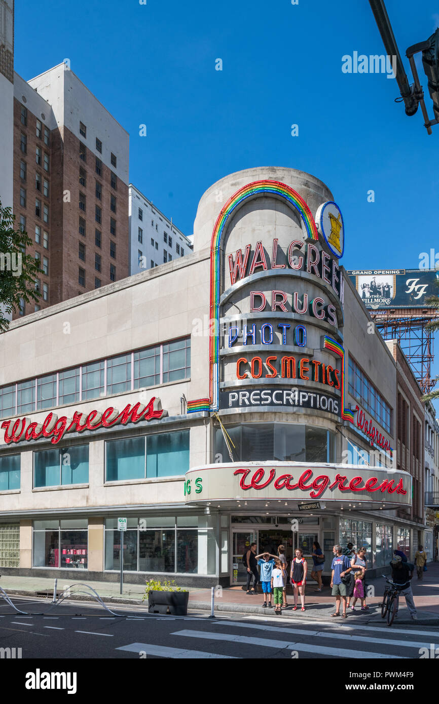 Art moderne Walgreens on Canal Street in downtown  New Orleans Stock Photo