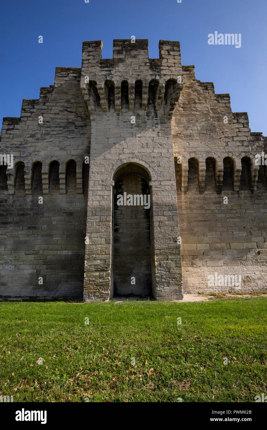 Avignon Wall Fortifications - Avignon is entirely enclosed by 4 kilometres of walls show evidence of the importance of fortifications in 14th century  - Stock Image