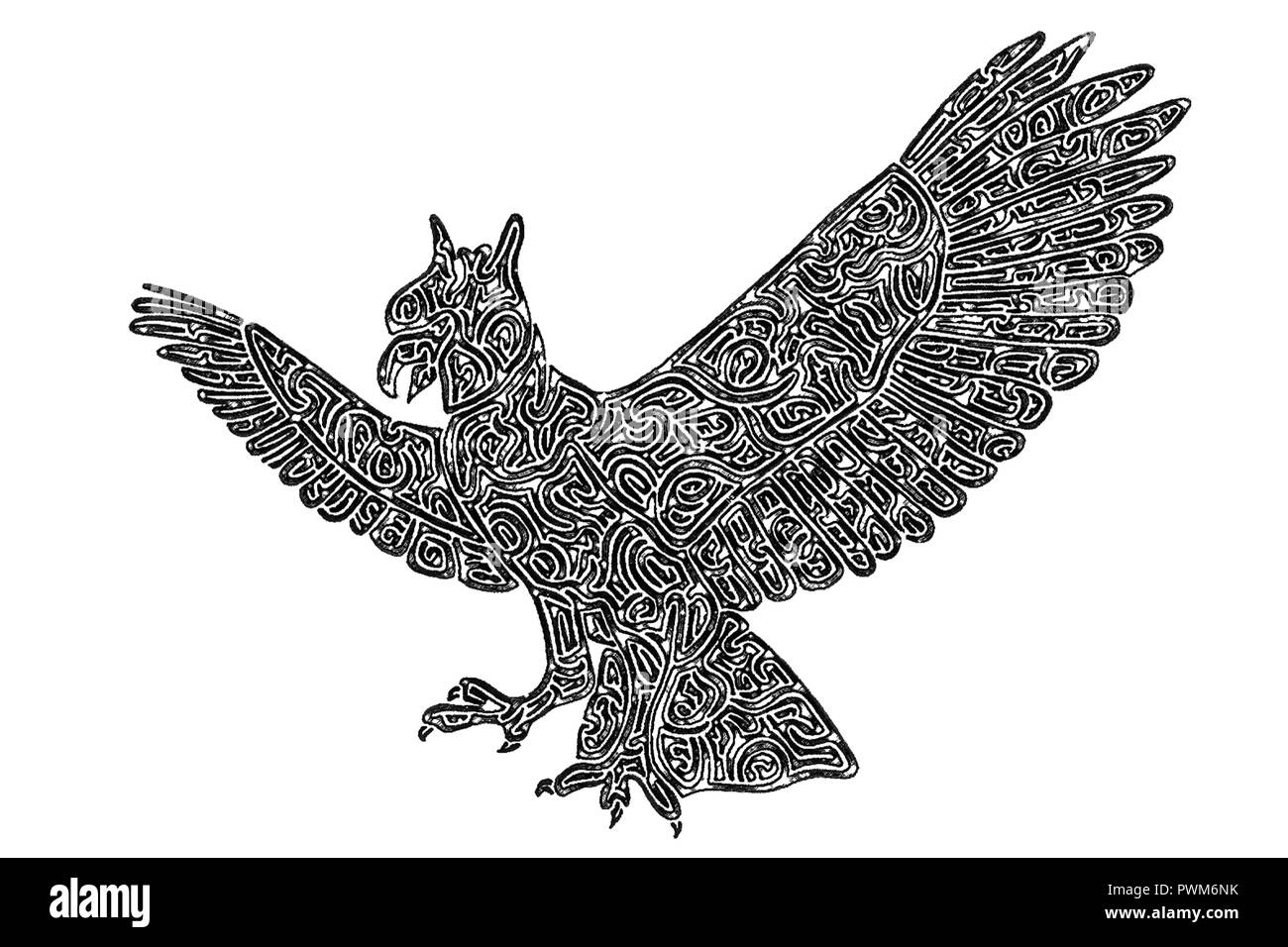 Illustration of flying harpy eagle attacking its prey with its claws black and white