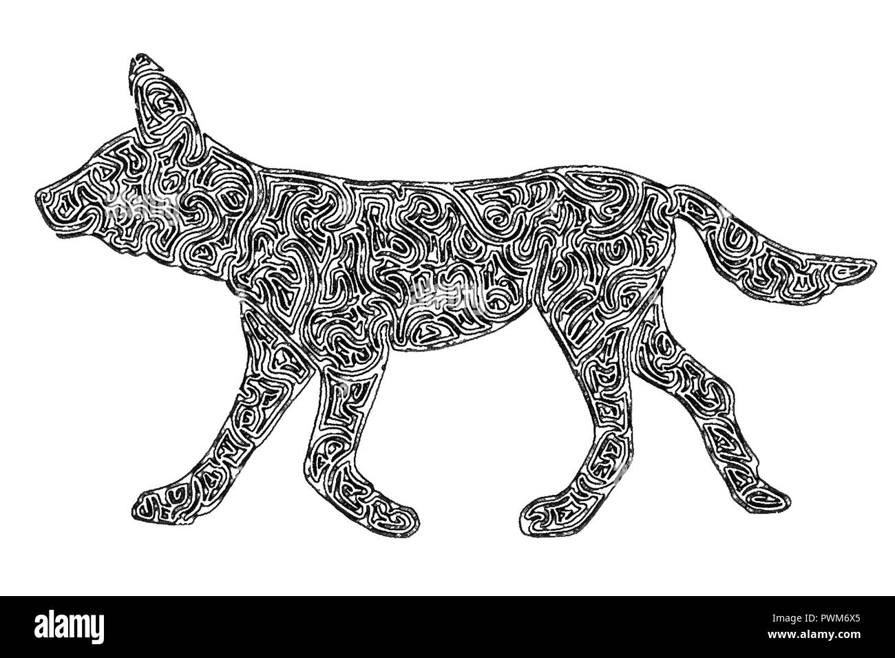 Illustration of an african wild dog black and white drawing maze lines