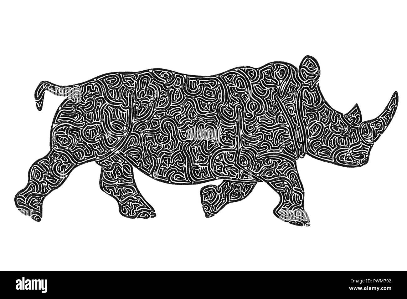 Illustration of Rhino running, black and white, drawing