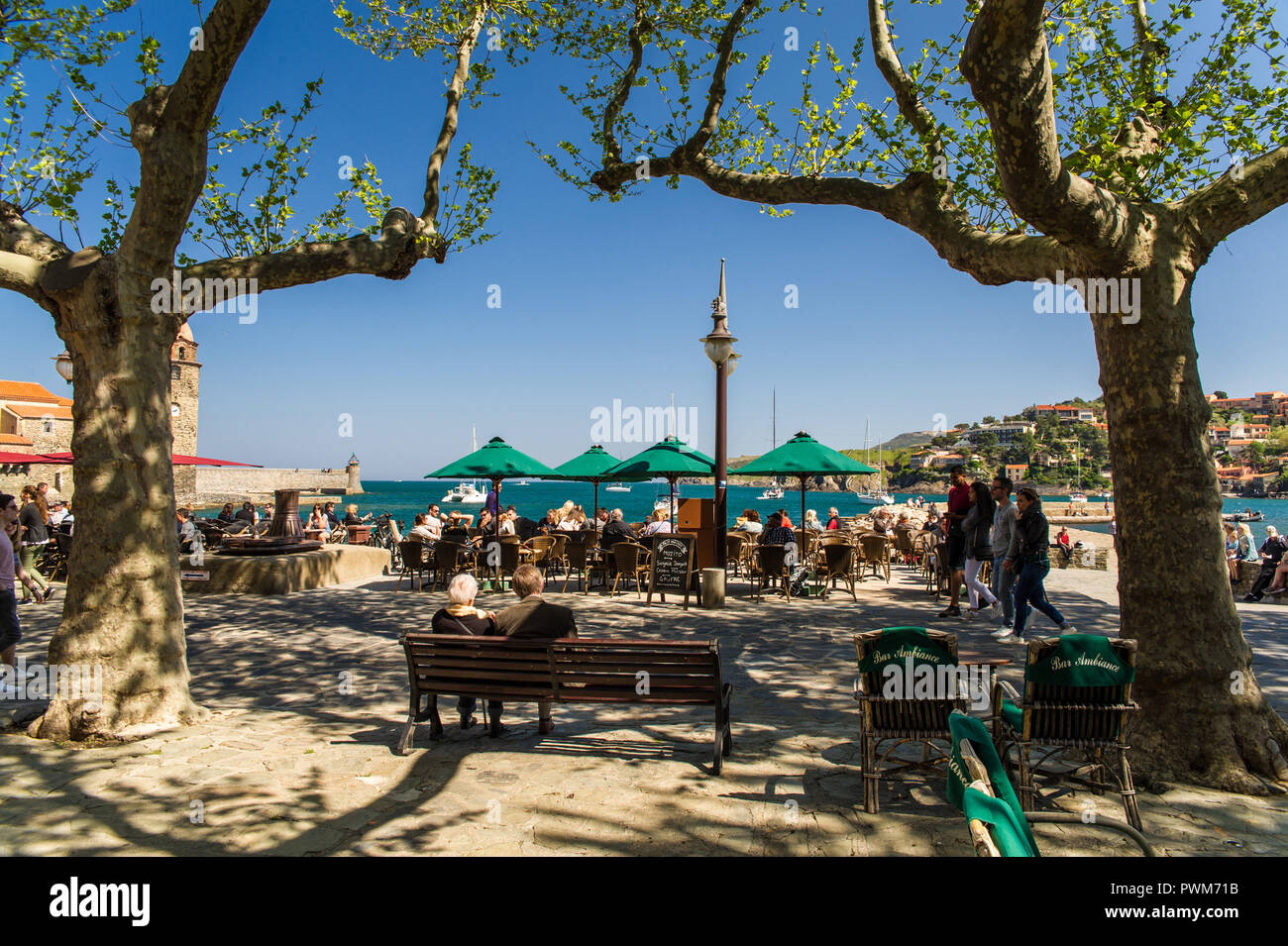 Collioure South Of France Cafe Terrace In Front Of The