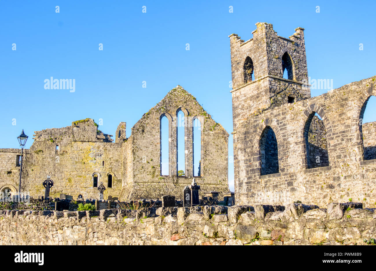 Cong Abbey in the village of the same name, straddling the County Galway and County Mayo borders in Ireland. The abbey dates back to the 12th Century. Stock Photo