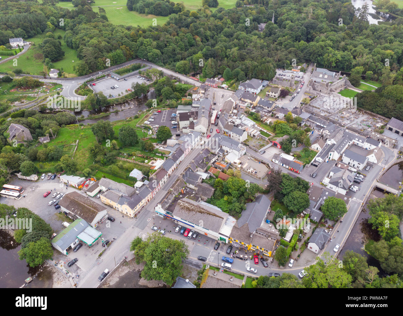 An aerial view of  the village of Cong, straddling the County Galway and County Mayo borders in Ireland. Stock Photo
