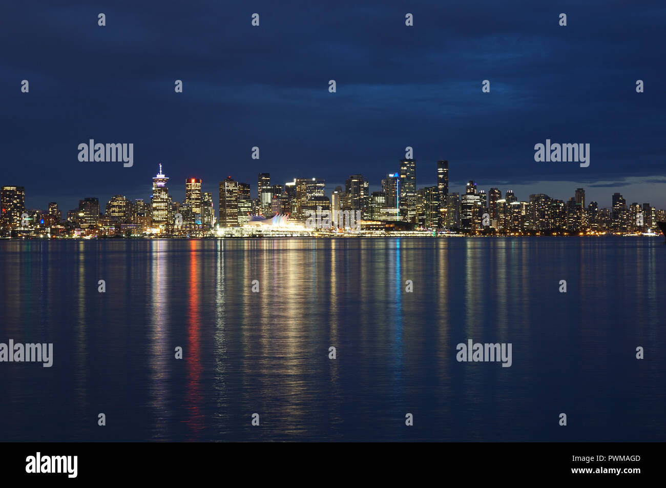 Vancouver skyline at blue hour, British Columbia, Canada - Stock Image