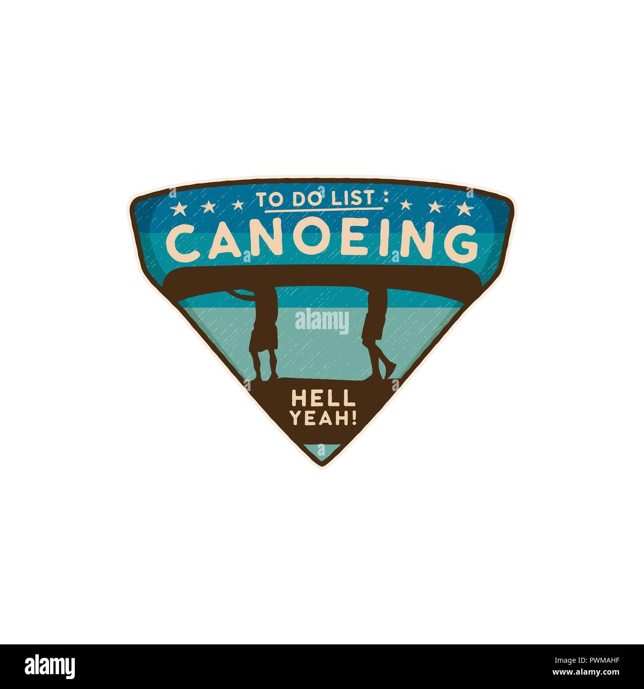 Canoeing Logo Emblem. Vintage hand drawn travel badge. Featuring two mens carrying canoe on the heads scene. Included custom adventure quote - To Do List - Canoeing. Stock vector wanderlust insignia - Stock Vector