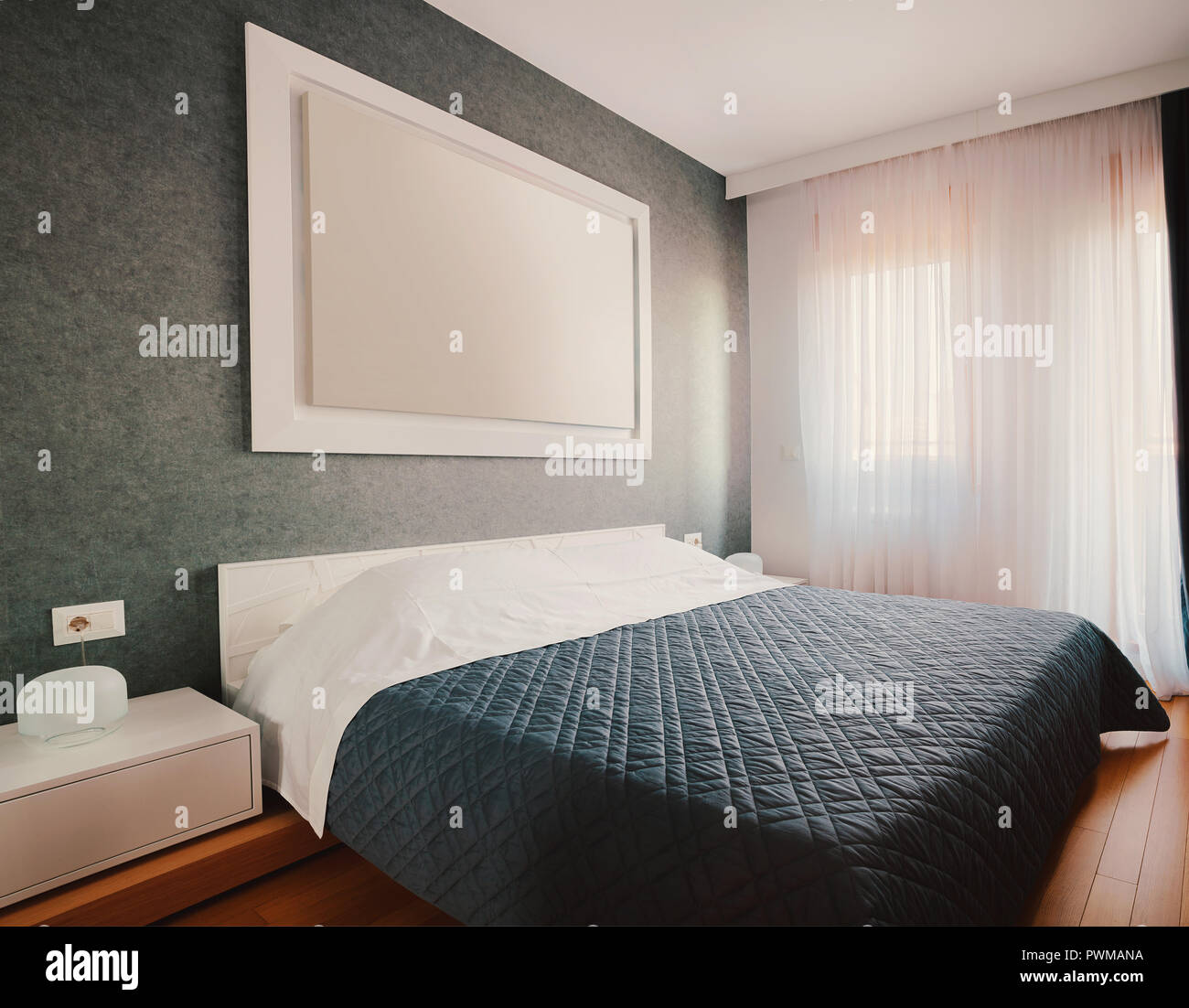 . Interior of small hotel or home bedroom  modern furniture and room