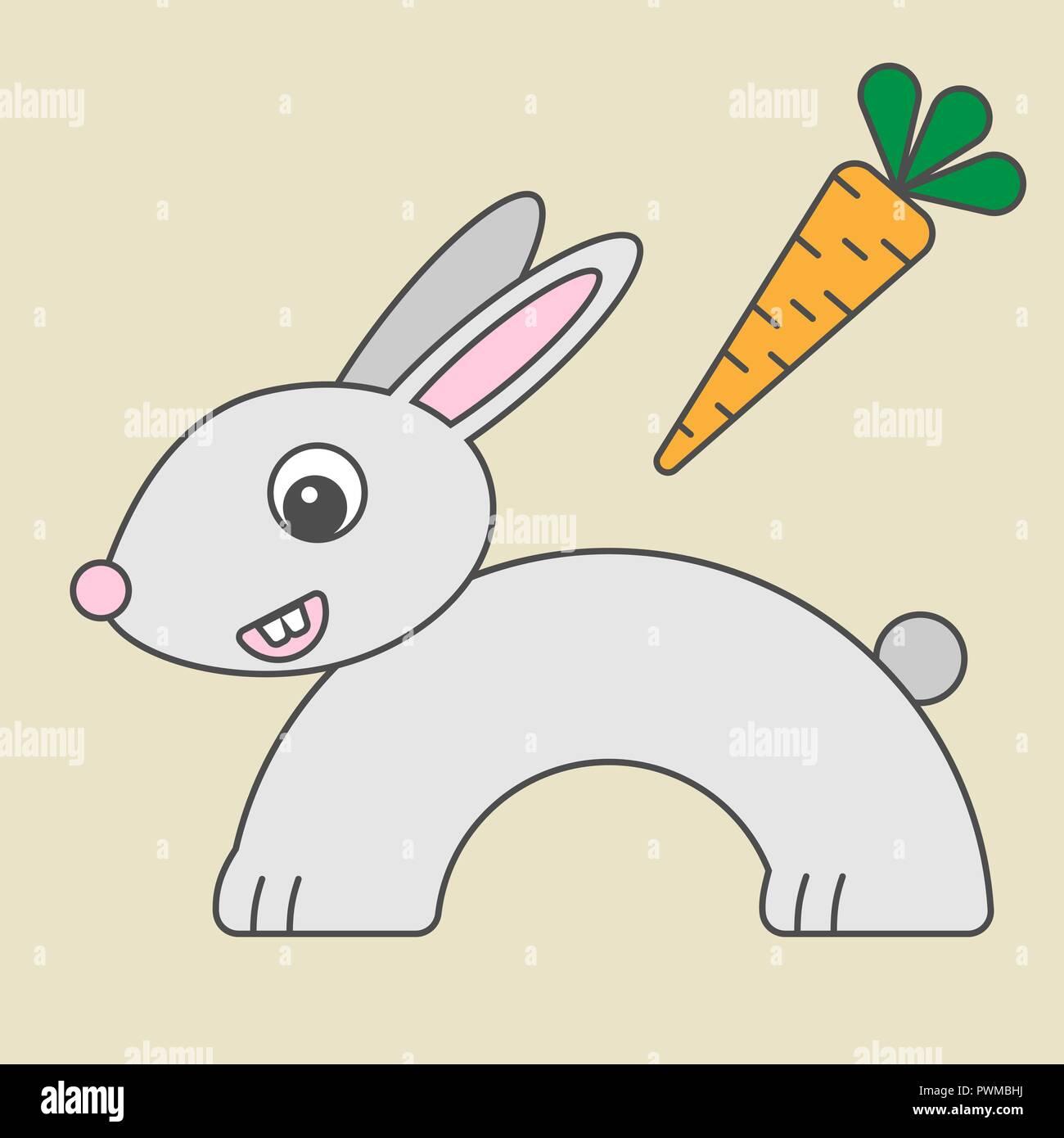 Cartoon Rabbit For Kids Illustration Of Hare For Children Bunny In