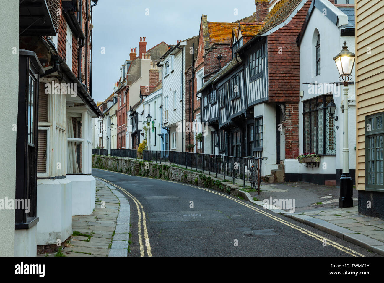 Evening in Hastings old town, East Sussex, England. - Stock Image