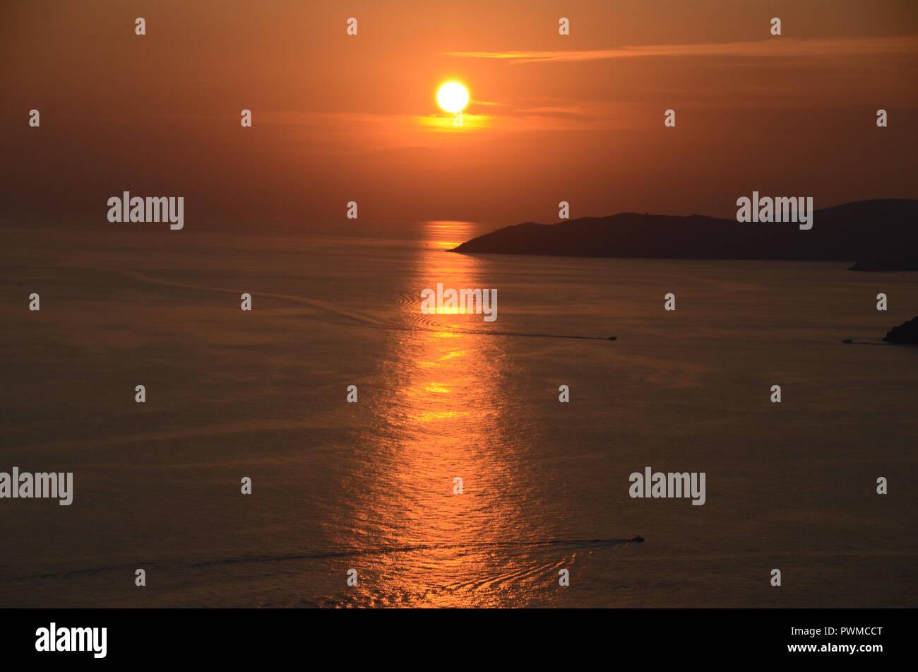 sunset over the adriatic sea at budva montenegro - Stock Image
