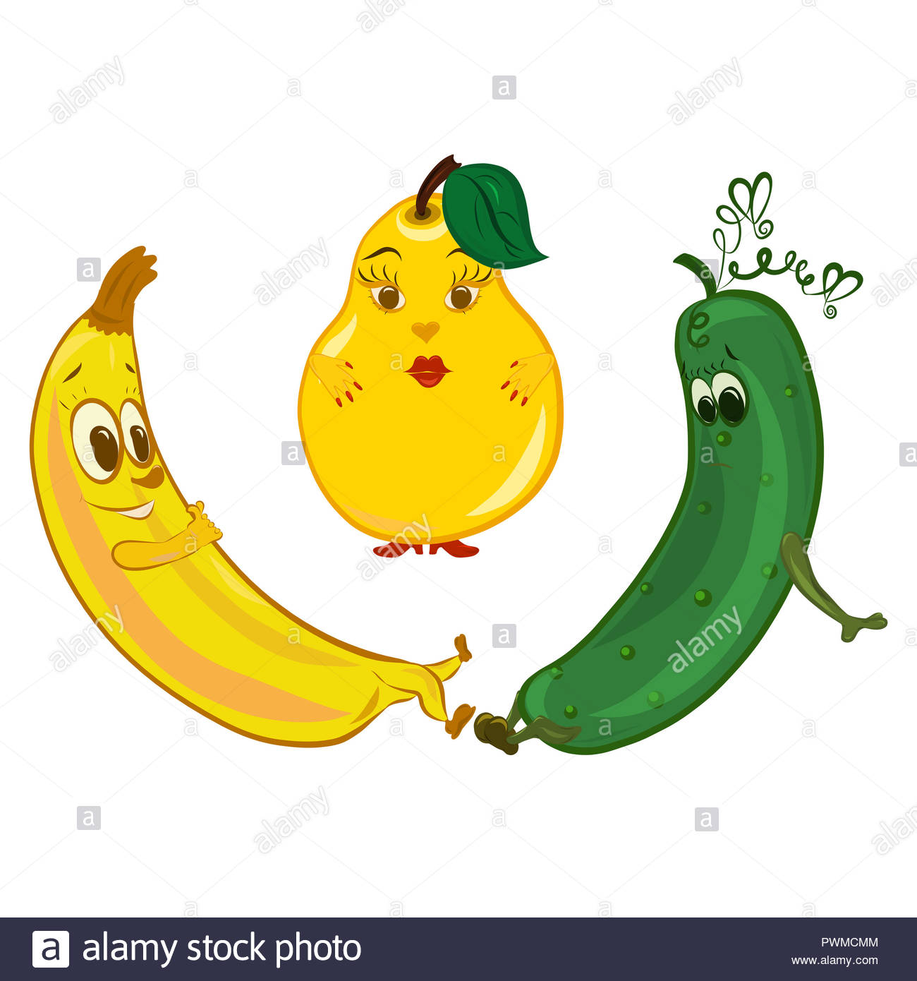 Jolly banana, sad cucumber and pear in between - Stock Image